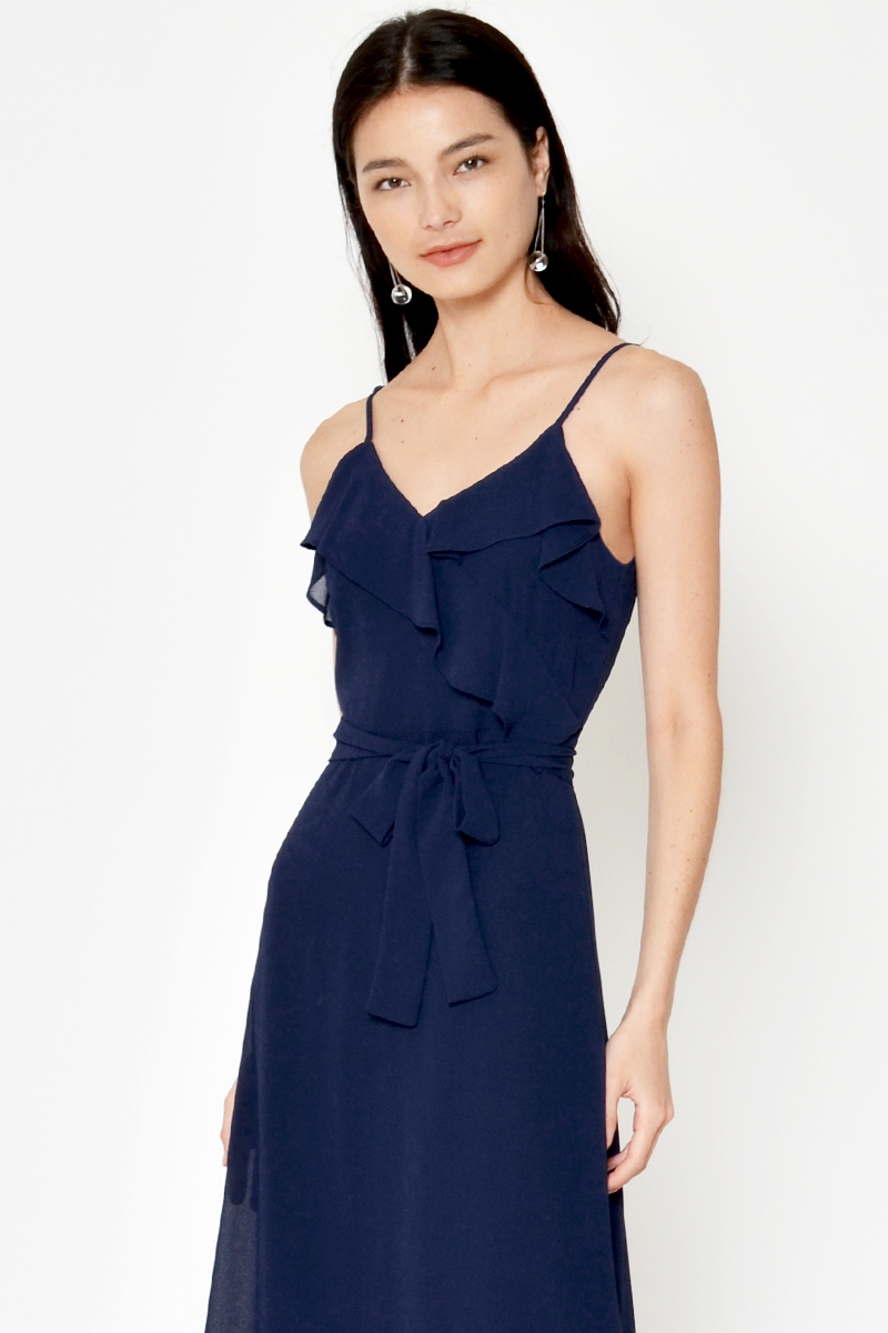 EARLIA LAYERED RUFFLE DRESS W SASH