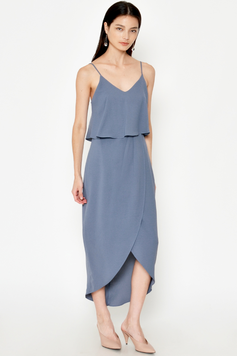 RALPHIE LAYERED FOLDOVER MIDI DRESS