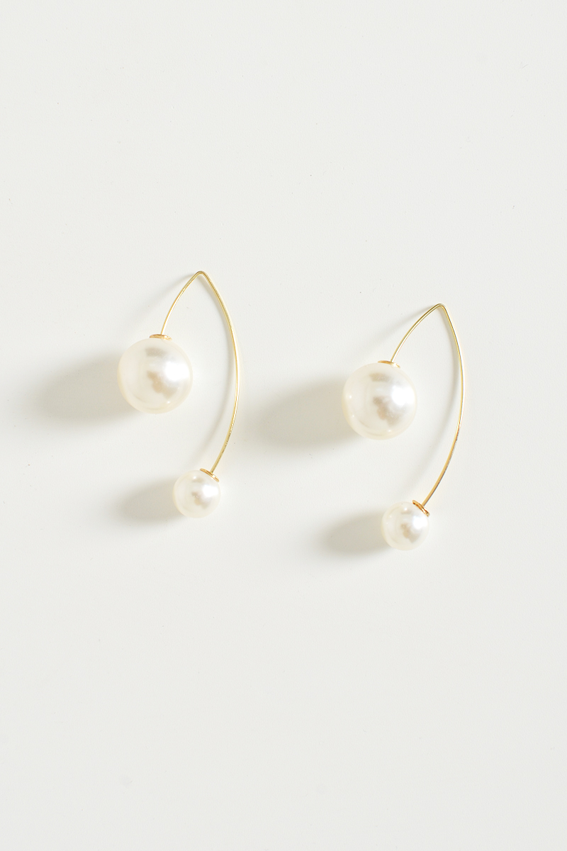 DUO PEARL HOOK EARRINGS