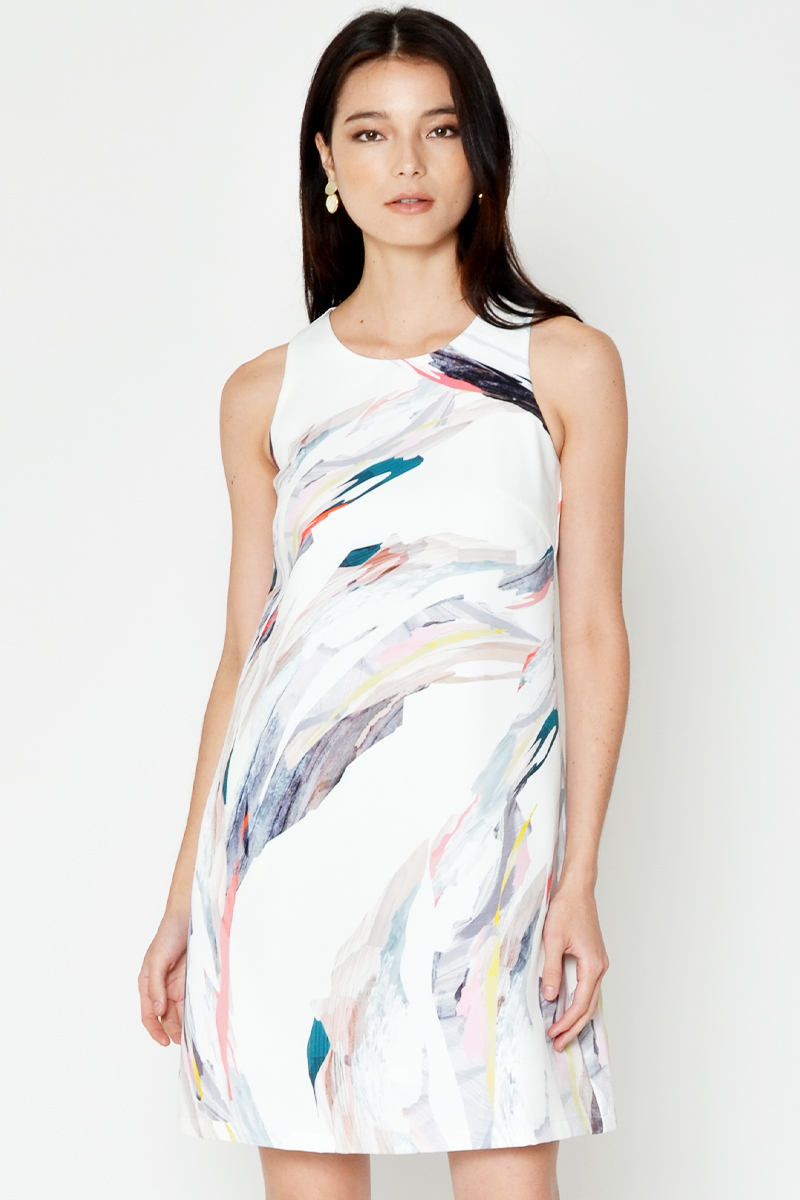 GLETIA ABSTRACT PRINT SHIFT DRESS