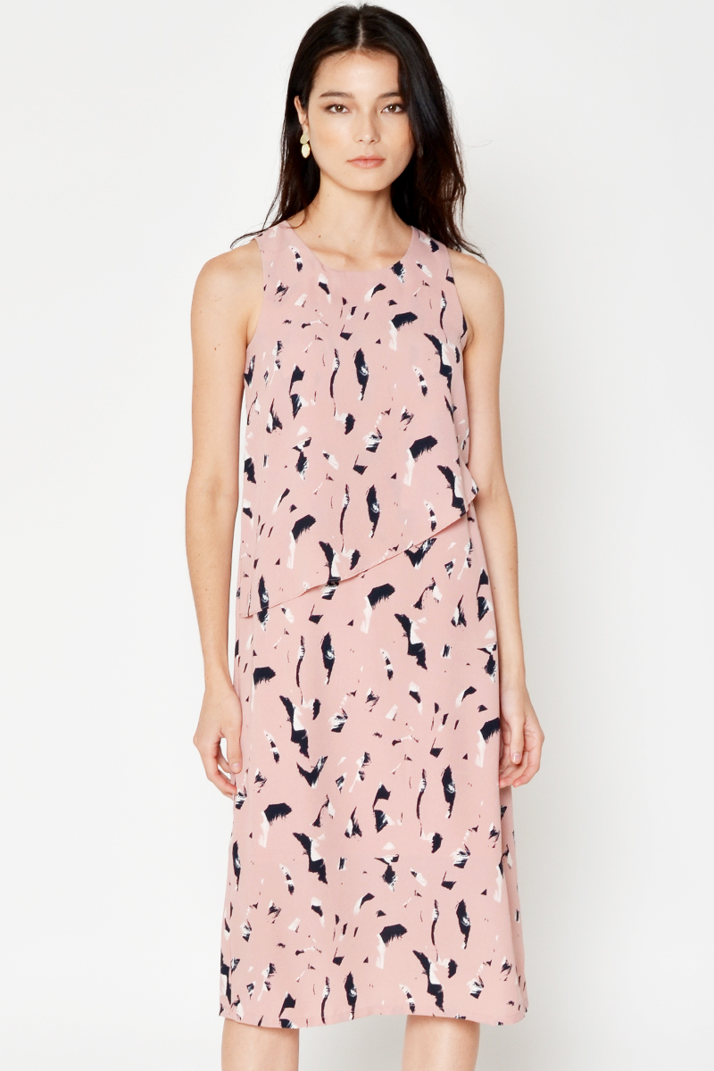 JONDIE ABSTRACT LAYERED MIDI DRESS