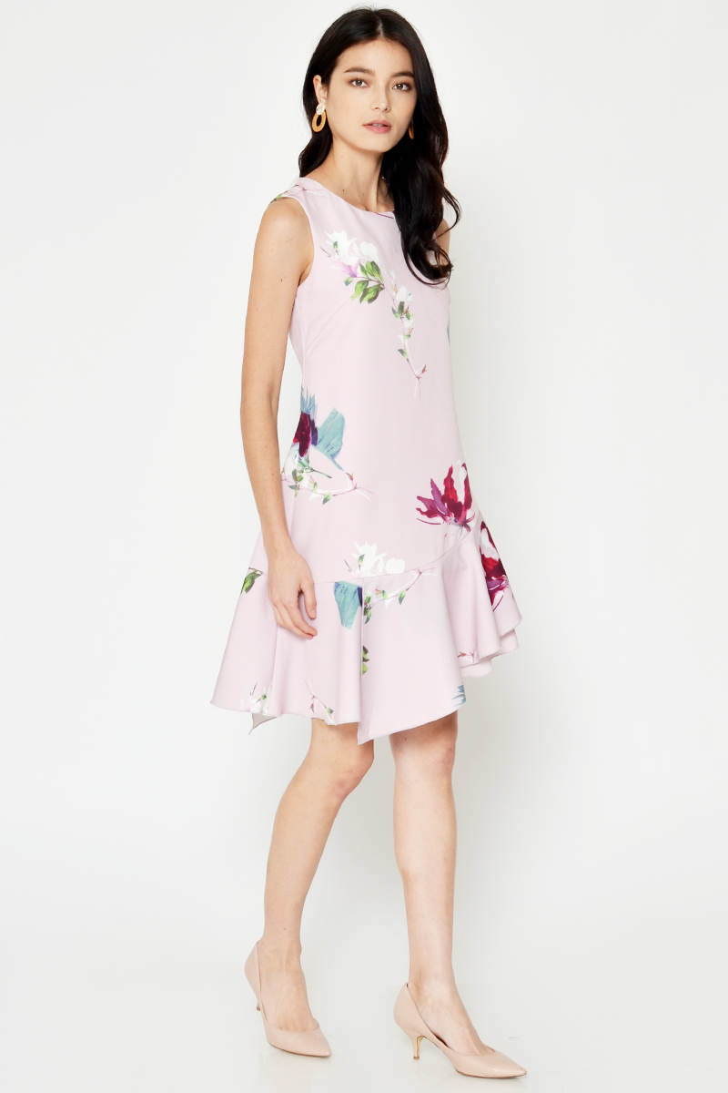 CHERELLE FLORAL ASYMMETRICAL DRESS