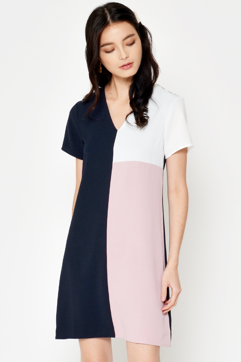 ELDRI COLOURBLOCK SHIFT DRESS