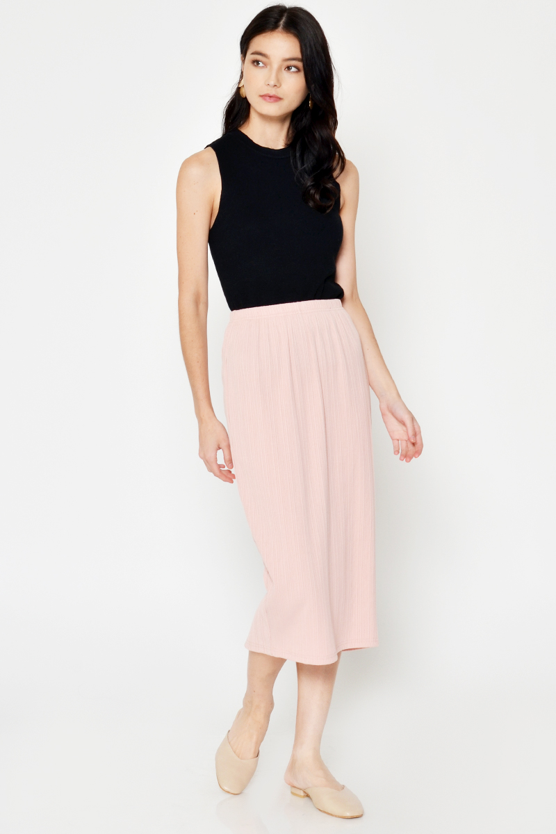 EMILY RIBBED MIDI SKIRT