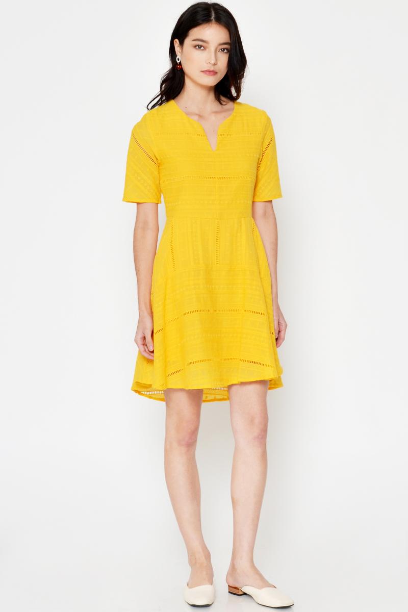 LENNON CROCHET FLARE DRESS