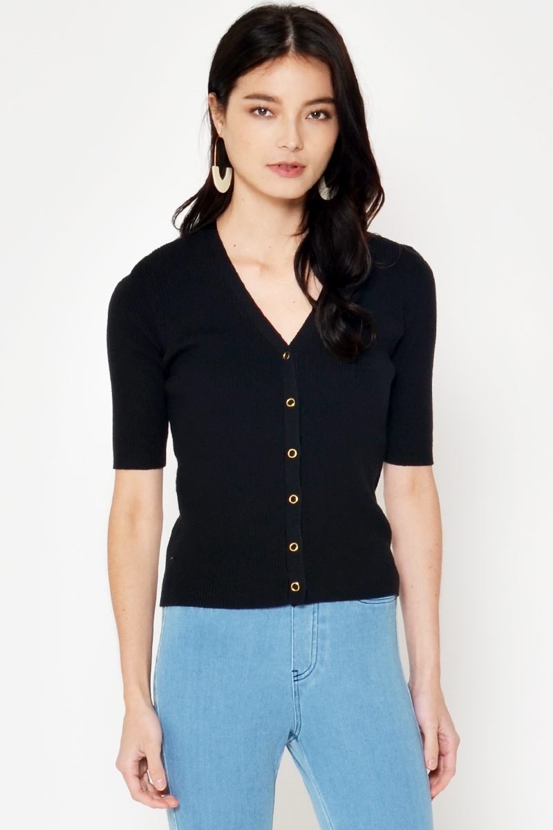 PIERRE BUTTON KNIT TOP