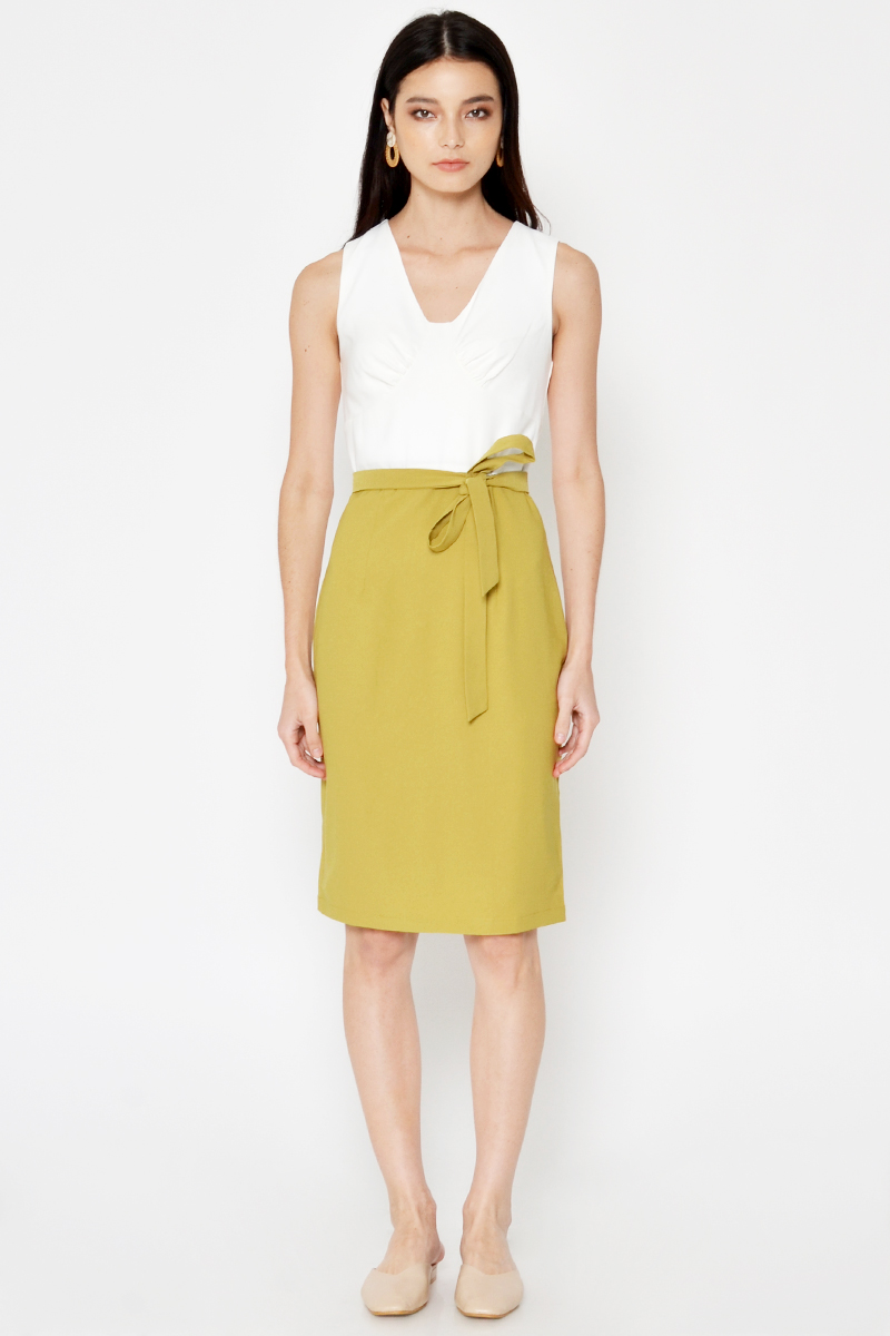 DELVINA COLOURBLOCK SHEATH DRESS W SASH