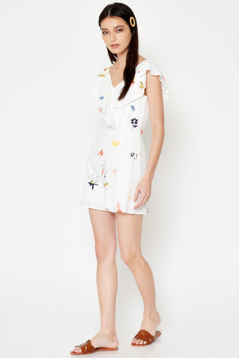 LAURIE FLORAL RUFFLE ROMPER