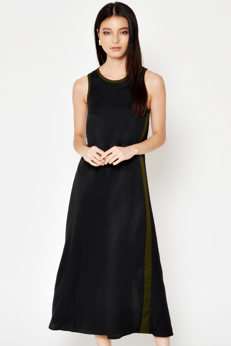 MAVEN COLOURBLOCK PIPING MAXI DRESS