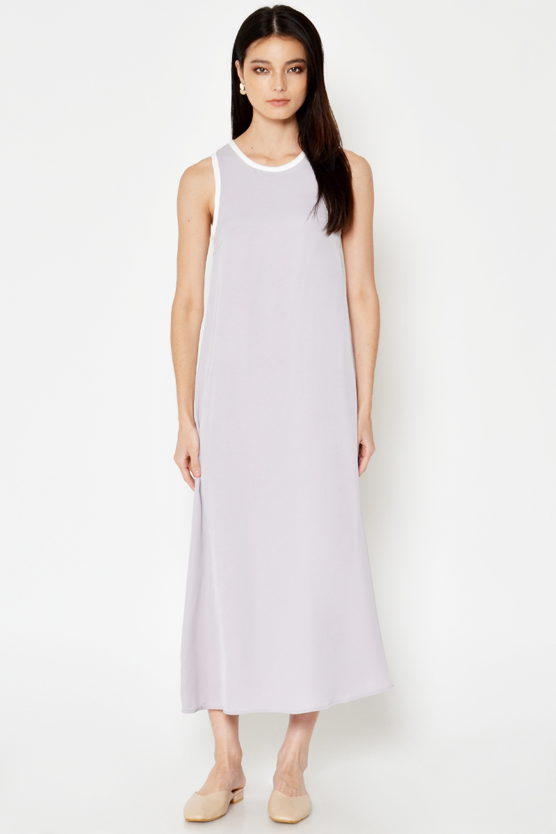 MAVEN COLOURBLOCK PIPING MAXI DRESS