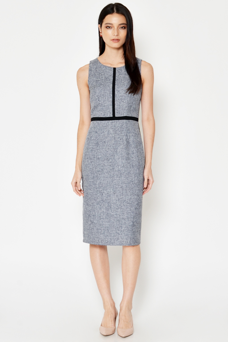 OSLEY COLOURBLOCK TWEED MIDI DRESS
