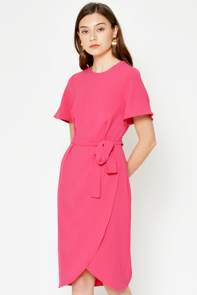 BERDINE LAYERED SASH DRESS W DETACHABLE COLLAR