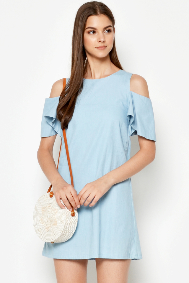CLAUDETTE DENIM CUTOUT DRESS
