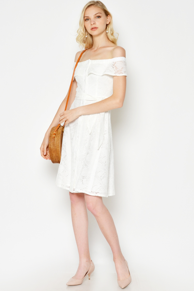 EMELY LACE OFF SHOULDER DRESS W SASH