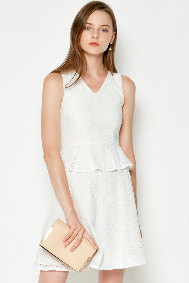 SAISHA EYELET PEPLUM DRESS