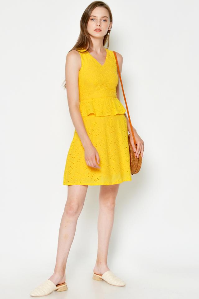 SAISHA EYELET PEPLUM DRESS