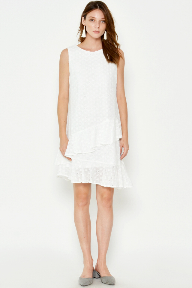 KINLEY EYELET ASYMMETRICAL RUFFLE DRESS