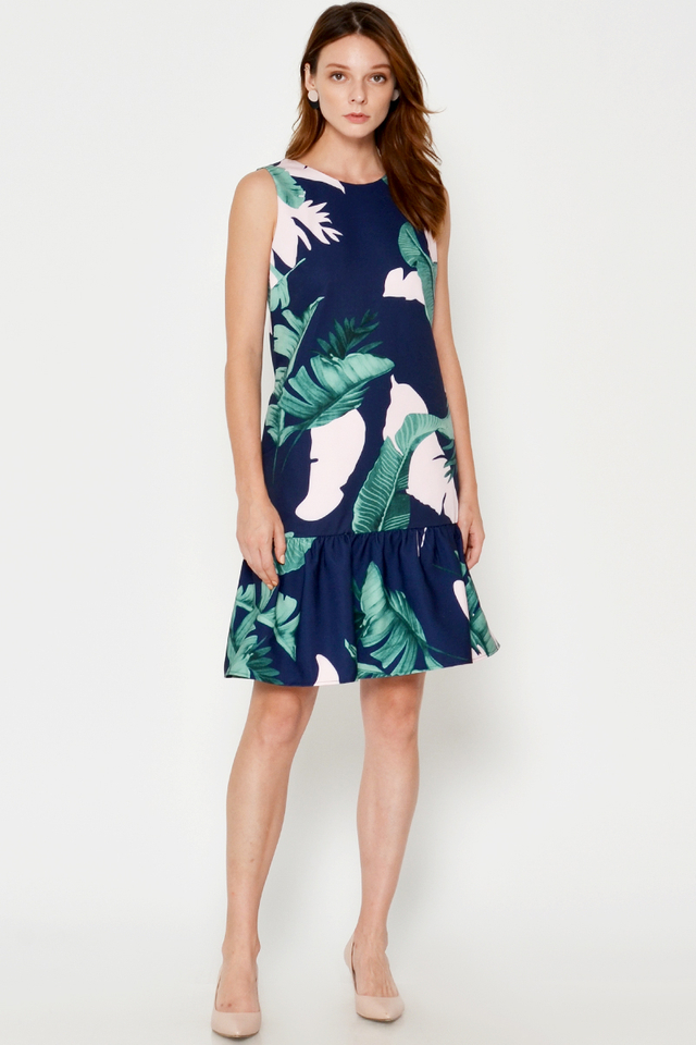 SENCHA LEAF PRINTED DROPWAIST DRESS