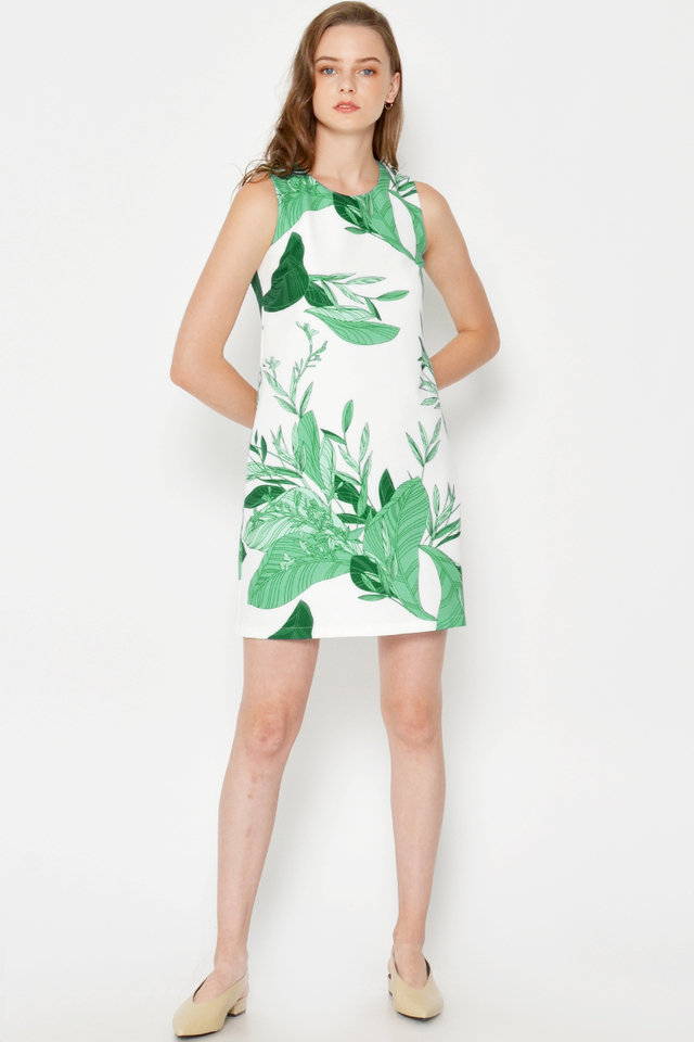 FERMIN LEAF DRESS W OBI BELT