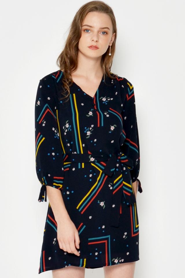 ILEANA ABSTRACT DRESS W SASH