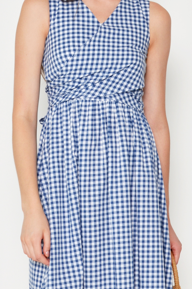 JESSIE CHECKERED WRAP DRESS