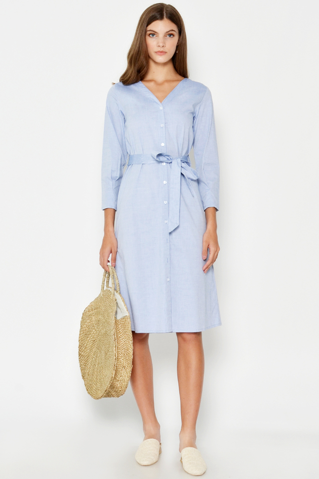 PERRIN SHIRT DRESS W SASH