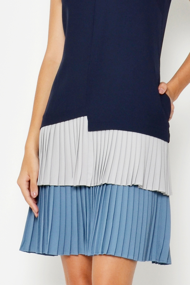 HILDIE COLOURBLOCK PLEATED LAYERED DRESS