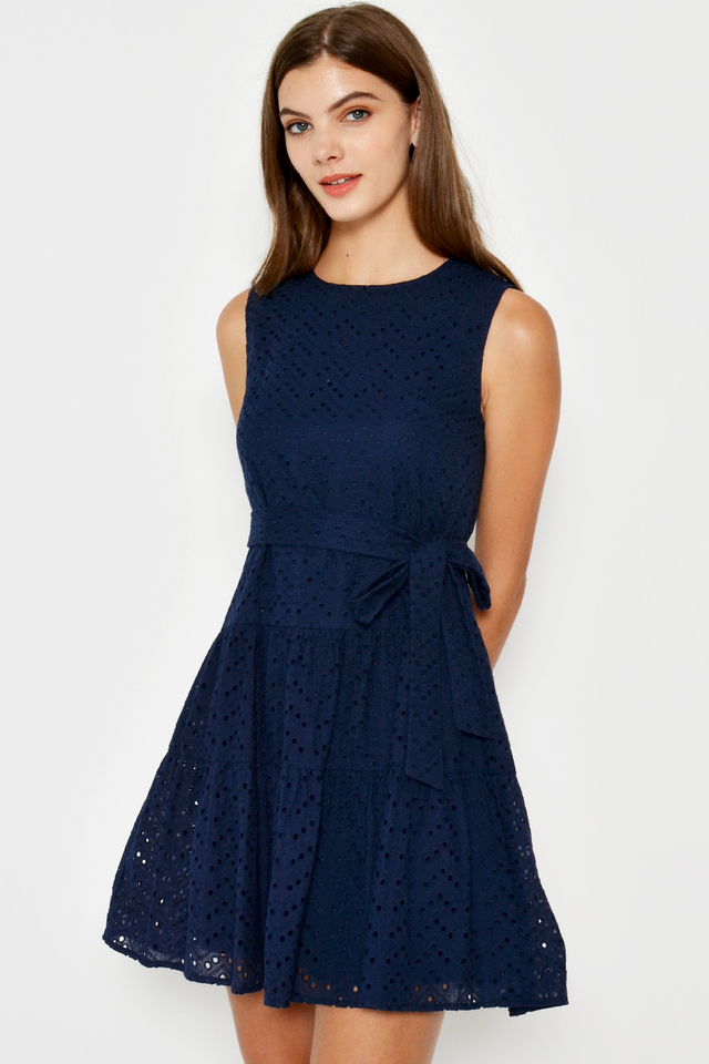 ISCHELLE EYELET TIERED DRESS W SASH