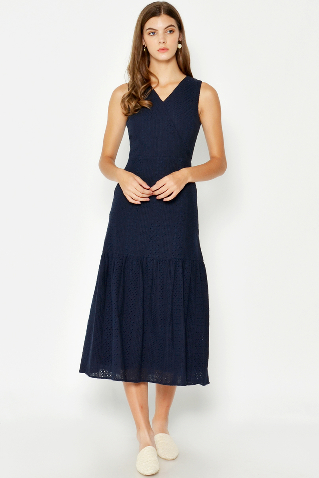 KALISHA EYELET WRAP DRESS
