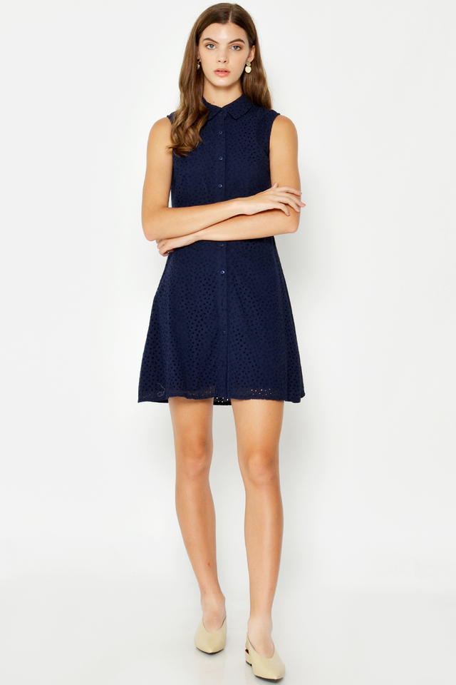 KIANA EYELET FLARE DRESS