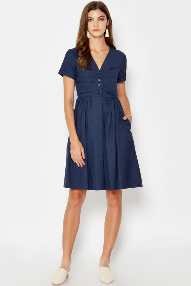 PAIGE RUCHED BUTTON DRESS