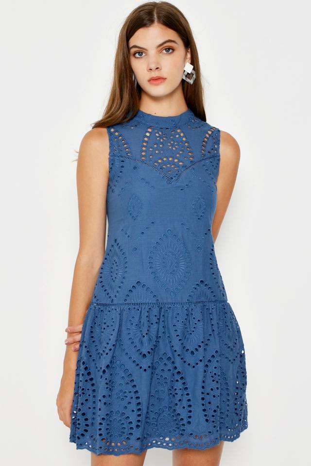 TORIE HIGHNECK EYELET DRESS