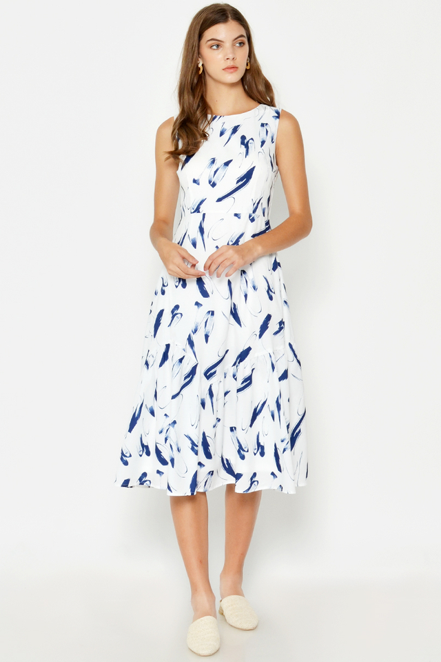 TRACIE PAINTSTROKE MIDI DRESS