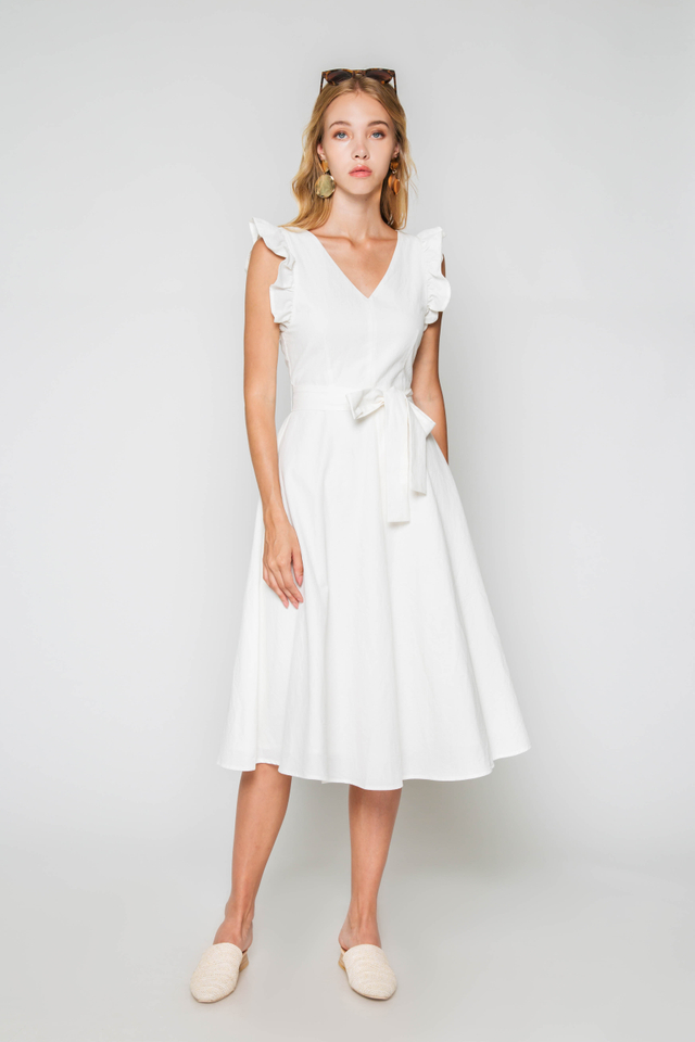 DOROTHY RUFFLE SLEEVE DRESS W SASH