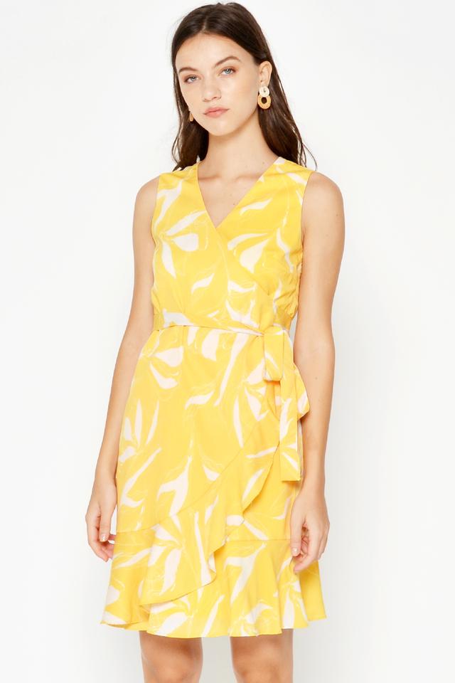 RENADY FLORAL RUFFLE WRAP DRESS