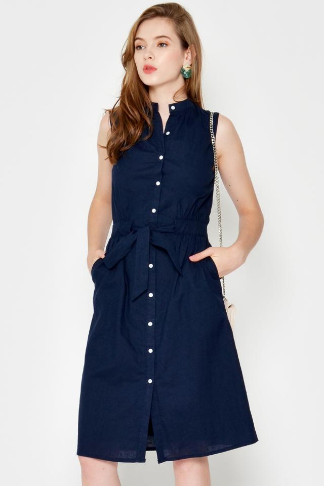 SUKIE BUTTONDOWN DRESS W SASH