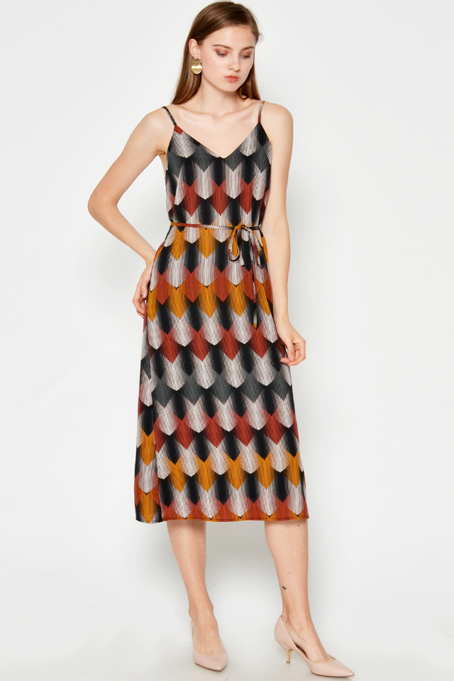 CHARLOTTE ABSTRACT PRINTED DRESS W SASH