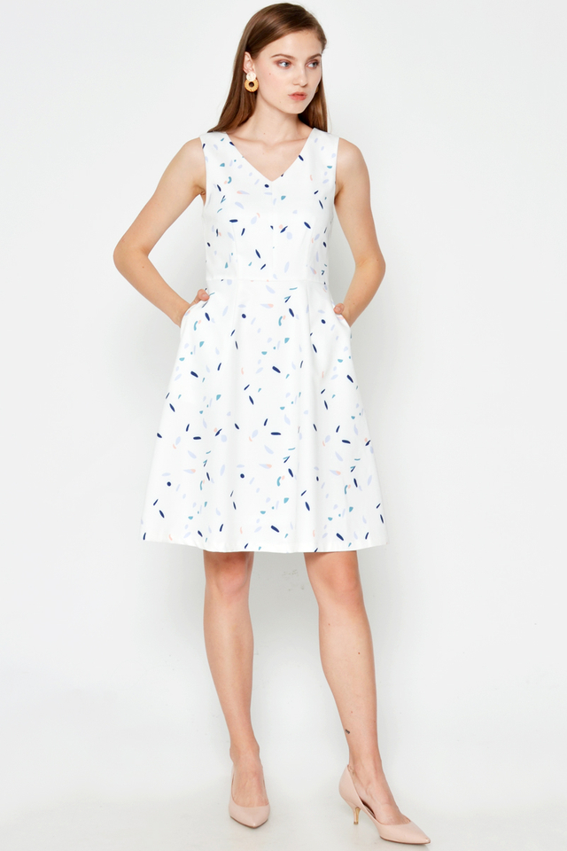 JENAE PRINTED FLARE DRESS