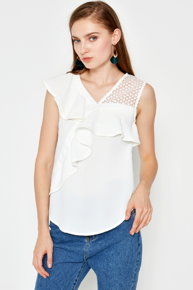 KATY RUFFLE CROCHET TOP