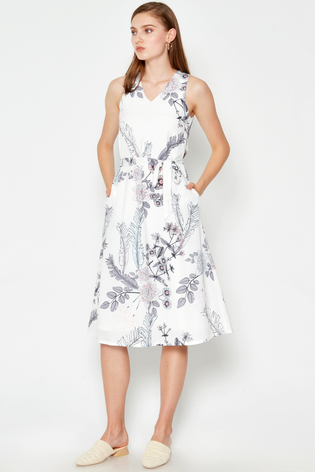 PHOEBE FLORAL MIDI DRESS W SASH