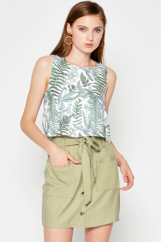 REGGIE LEAF PRINTED TOP