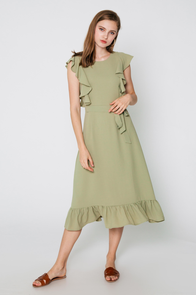 SAVANNAH FLUTTER SLEEVE DRESS W SASH