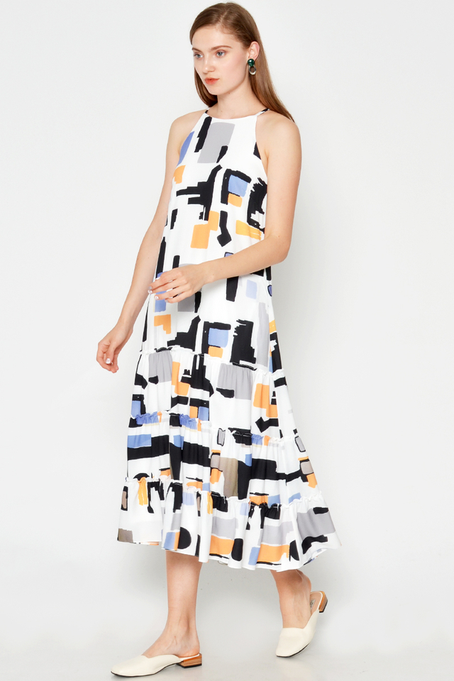 FINLEY ABSTRACT MIDI DRESS