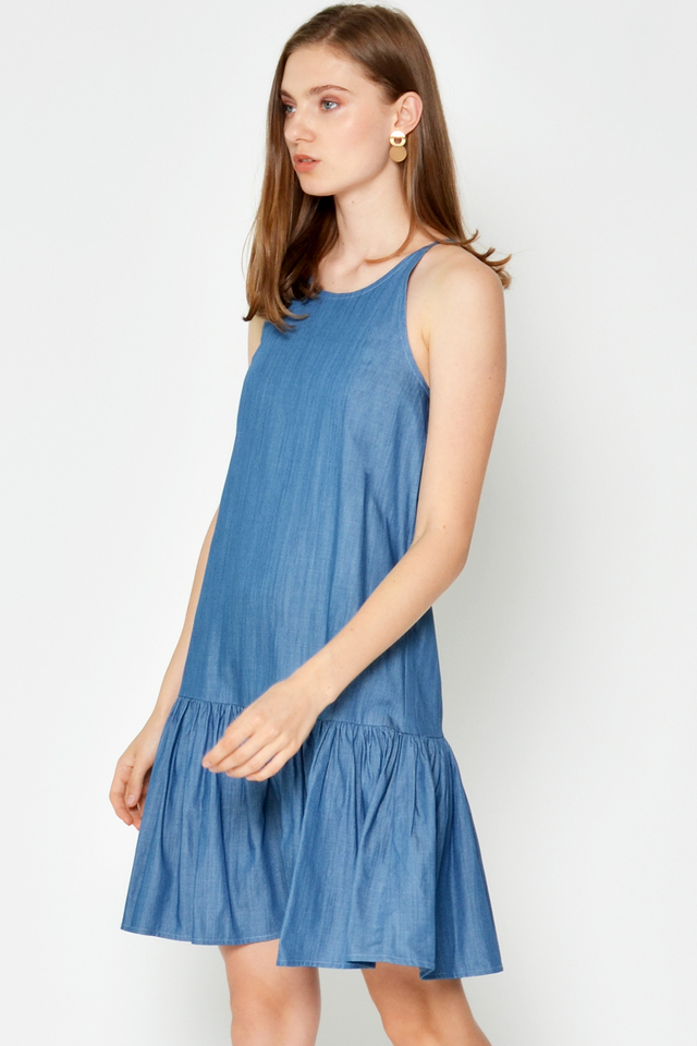 LINDSAY DENIM DROPWAIST DRESS