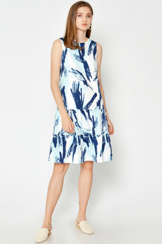 MANNY ABSTRACT TIERED DRESS