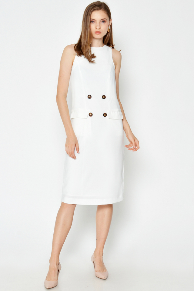 MARIEL BUTTON MIDI DRESS