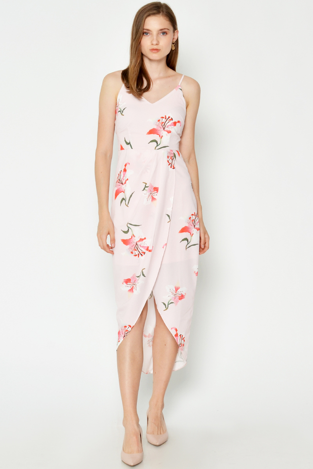 MEREDITH FLORAL FOLDOVER DRESS PINK