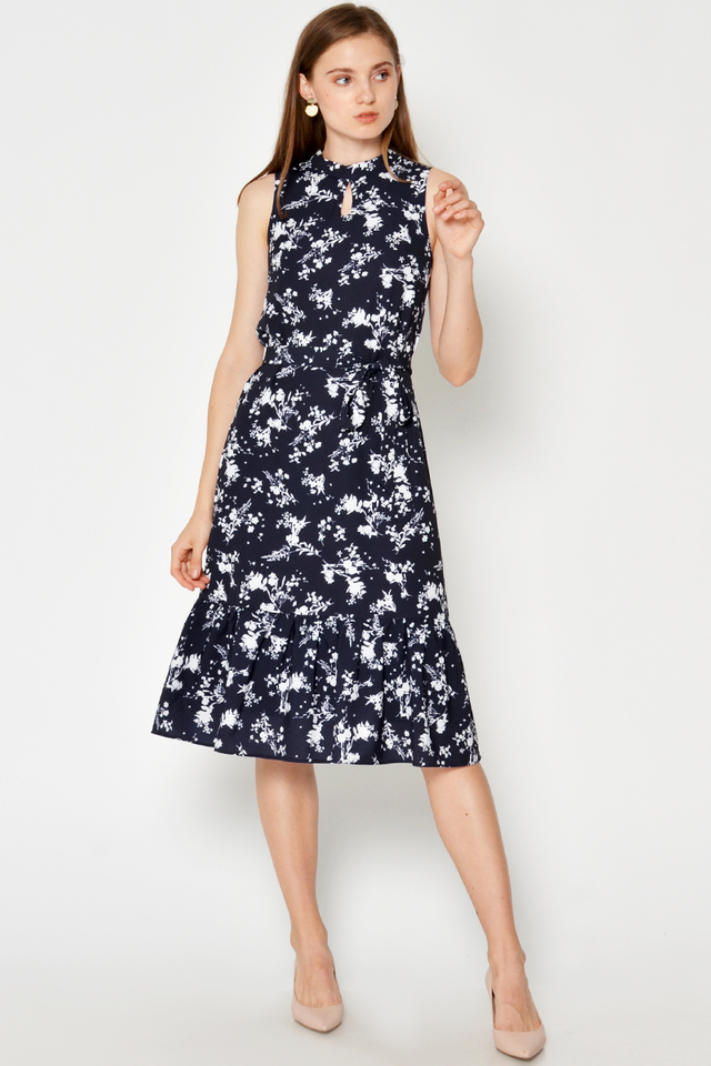 OAMRY FLORAL MIDI DRESS W SASH