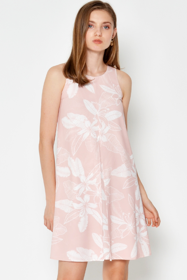 PATRICIA LEAF PRINTED ORIGAMI DRESS
