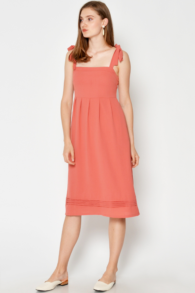 TABITHA TIE SHOULDER PLEATED MIDI DRESS